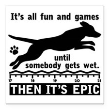 "Dock Jumping Dog Square Car Magnet 3"" x 3"""