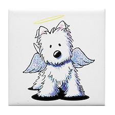 KiniArt Westie Angel Tile Coaster