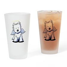 KiniArt Westie Angel Drinking Glass