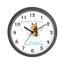 Australian Terrier Angel Wall Clock