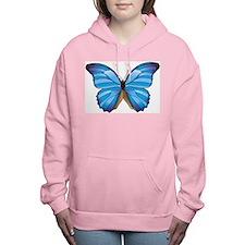 Blue Butterfly Women's Hooded Sweatshirt