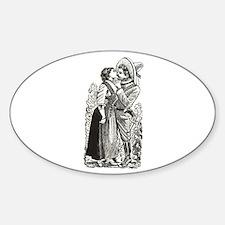 Last Kiss - Posada Woodcut Oval Decal