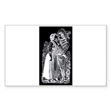 Romantic Kiss - Posada Woodcu Sticker (Rectangular