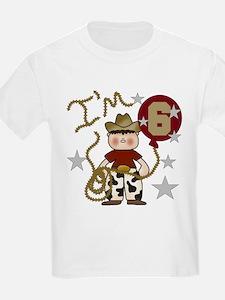 Cowboy 6th Birthday Kids T-Shirt