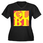 GLBT Hot Pop Women's Plus Size V-Neck Dark T-Shirt