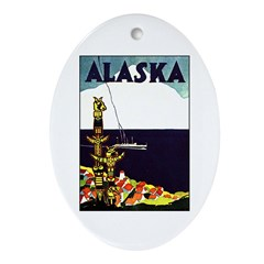 Vintage Alaska Travel Ad Oval Ornament