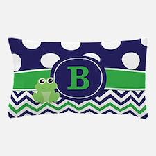 Navy Blue Green Frog Monogram Pillow Case