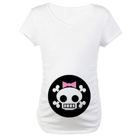 Skull Baby Girl Maternity T-Shirt