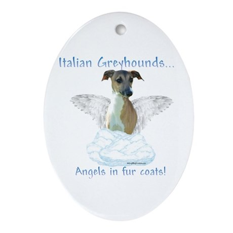Iggy Angel Oval Ornament