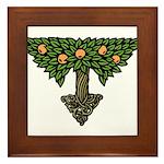 Art Nouveau Orange Tree Framed Tile