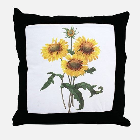 Redoute Sunflowers Throw Pillow
