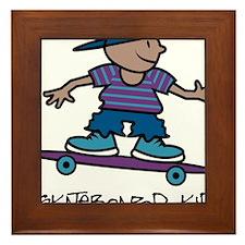 Skateboard Kid Framed Tile