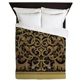 Ornate black and gold Luxe Full/Queen Duvet Cover