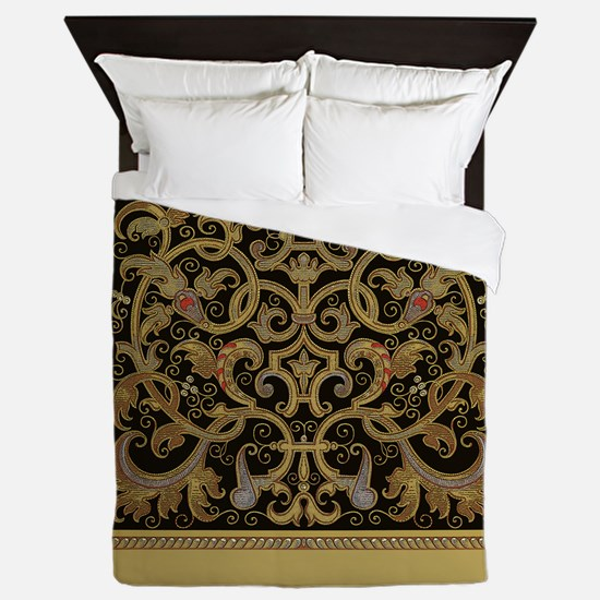 Ornate Black and Gold Queen Duvet