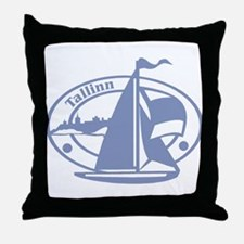 Tallinn Passport Stamp Throw Pillow
