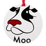 Moo Cow Round Ornament