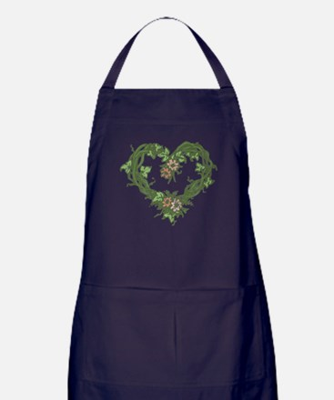 Rose Heart Wreath Apron (dark)