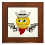 Cowboy Smiley Face Framed Tile