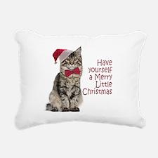 Santa Cat Rectangular Canvas Pillow