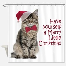 Santa Cat Shower Curtain