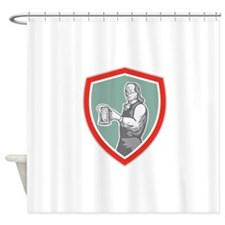 Benjamin Franklin Holding Beer Shield Retro Shower