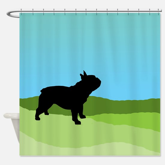 Blue Sky French Bulldog Shower Curtain