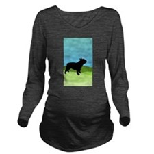 Blue Sky French Bulldog Long Sleeve Maternity T-Sh