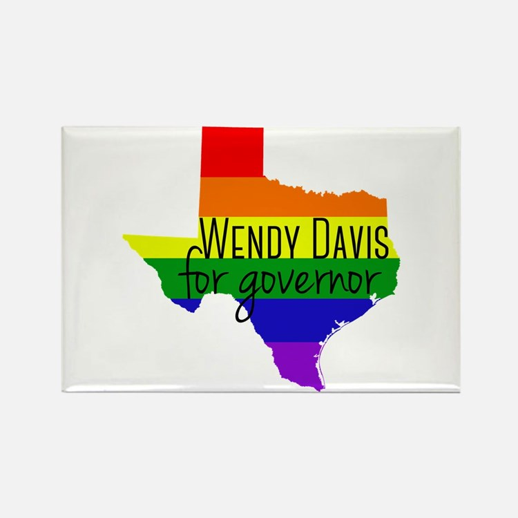Wendy Davis Rainbow Rectangle Magnet
