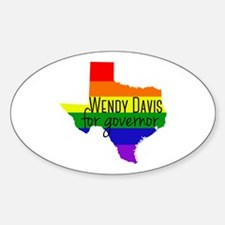 Wendy Davis Rainbow Sticker (Oval)