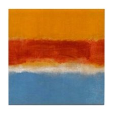 ROTHKO IN BLUE _ORANGE RED Tile Coaster