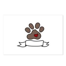 Dog Paw Banner Postcards (Package of 8)