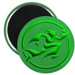 'Running Wizard' Magnet (10 pk) (3D green on green