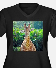 GIRAFFE LOVE Women's Plus Size V-Neck Dark T-Shirt