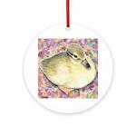 Snowy Mallard Duckling Ornament (Round)