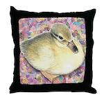 Snowy Mallard Duckling Throw Pillow