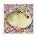 Snowy Mallard Duckling Tile Coaster