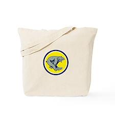 Grizzly Bear Running Circle Cartoon Tote Bag