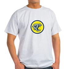 Grizzly Bear Running Circle Cartoon T-Shirt