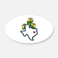 Texas Map Oval Car Magnet