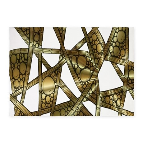 gold metallic bamboo and bubbles rug