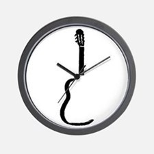 Black Acoustic Guitar Wall Clock