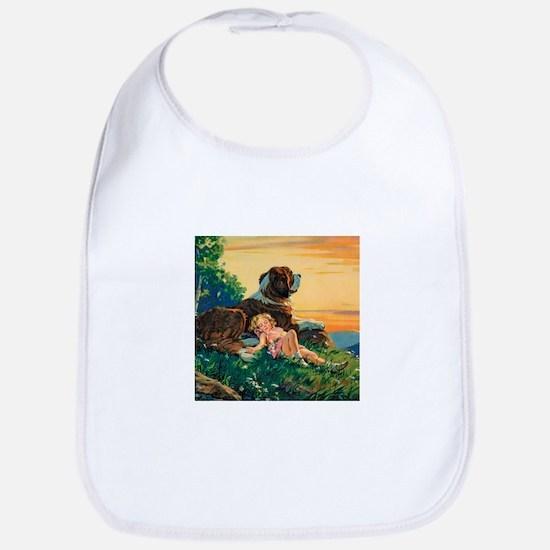 Saint Bernard Watercolor Bib