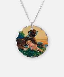 Saint Bernard Watercolor Necklace