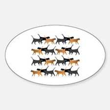 Procession of cats pattern Sticker (Oval)