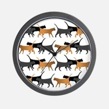 Procession of cats pattern Wall Clock