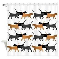Procession Of Cats Pattern Shower Curtain