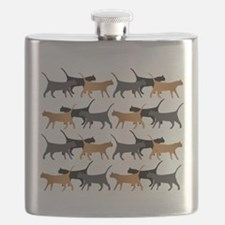 Procession of cats pattern Flask