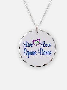 Live Love Square Dance Necklace