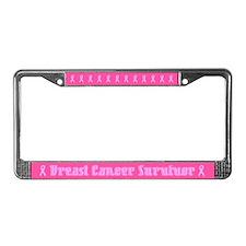 Chrome Breast Cancer Survivor License Plate Frame