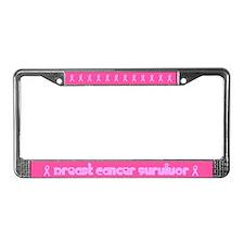 Flowers Breast Cancer Survivor License Plate Frame